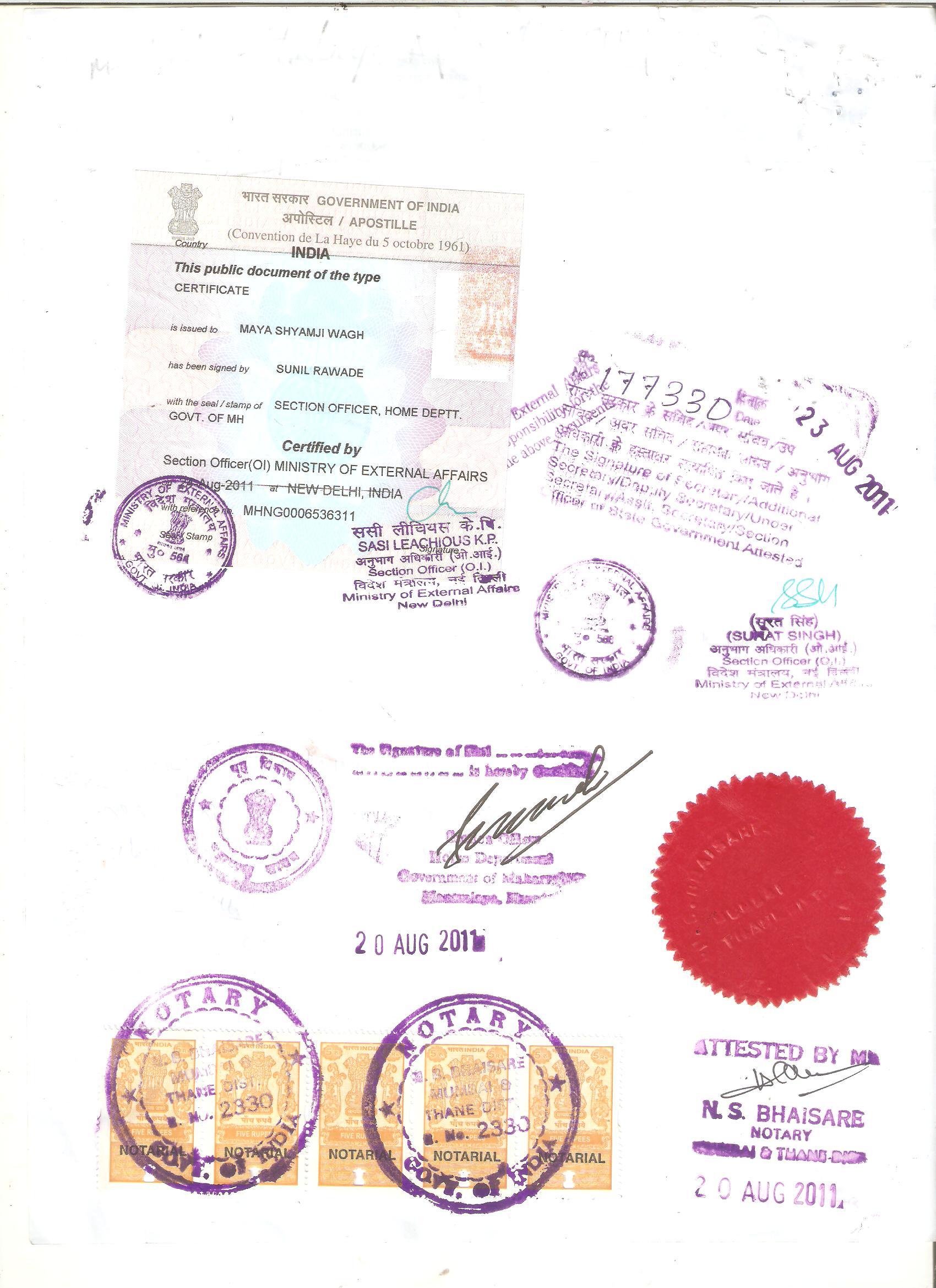 Certificate Apostille Service In India Certificate